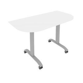 Стол прямой письменный радиусный складной мобильный Mobile System Riva СМ-4.1 Белый  1300*650*757, Цвет товара: Белый