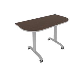 Стол прямой письменный радиусный складной мобильный Mobile System Riva СМ-4.1 Венге/Титан 1300*650*757, Цвет товара: Венге-титан