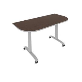 Стол прямой письменный радиусный складной мобильный Mobile System Riva СМ-5.1 Венге/Титан 1400*650*757, Цвет товара: Венге-титан
