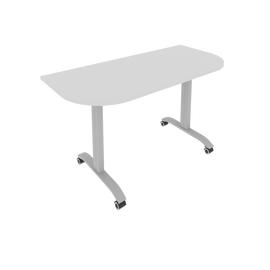 Стол прямой письменный радиусный складной мобильный Mobile System Riva СМ-5.1 Серый 1400*650*757, Цвет товара: Серый