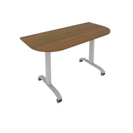 Стол прямой письменный радиусный складной мобильный Mobile System Riva СМ-5.1 Орех 1400*650*757, Цвет товара: Орех