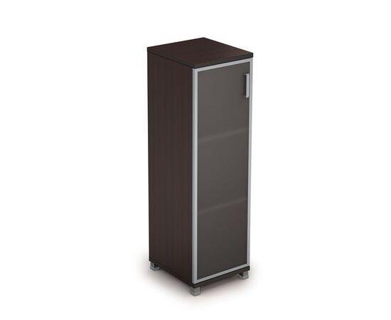 Шкаф для документов средний узкий со стеклом в алюминиевой раме Лев. AVANCE 6П.015.4 400х450х1348 Венге, Цвет товара: Венге