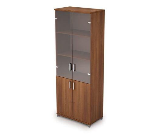 Шкаф для документов высокий (2 низкие двери ЛДСП, 2 средние двери стекло ) AVANCE ALSAV 6Ш.005.3 Шамони темный 800х450х2116, Цвет товара: Шамони темный