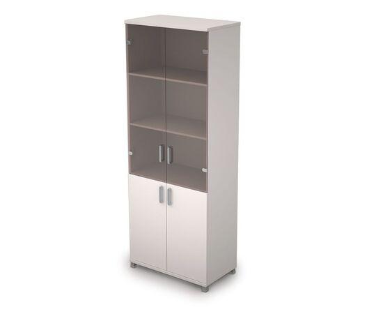 Шкаф для документов высокий (2 низкие двери ЛДСП, 2 средние двери стекло ) AVANCE ALSAV 6Ш.005.3 Белый 800х450х2116, Цвет товара: Белый