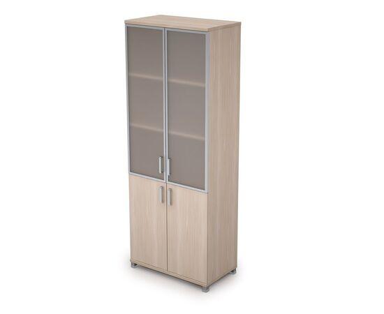 Шкаф для документов высокий (2 низкие двери ЛДСП, 2 средние двери стекло в ал.раме  ) AVANCE ALSAV 6Ш.005.4 Шамони светлый 800х450х2116, Цвет товара: Шамони светлый