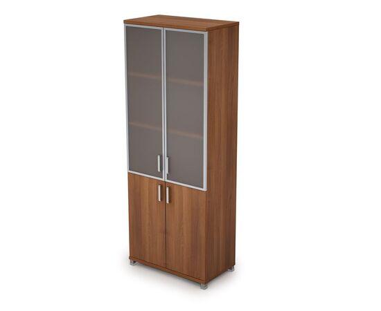 Шкаф для документов высокий (2 низкие двери ЛДСП, 2 средние двери стекло в ал.раме  ) AVANCE ALSAV 6Ш.005.4 Шамони темный 800х450х2116, Цвет товара: Шамони темный