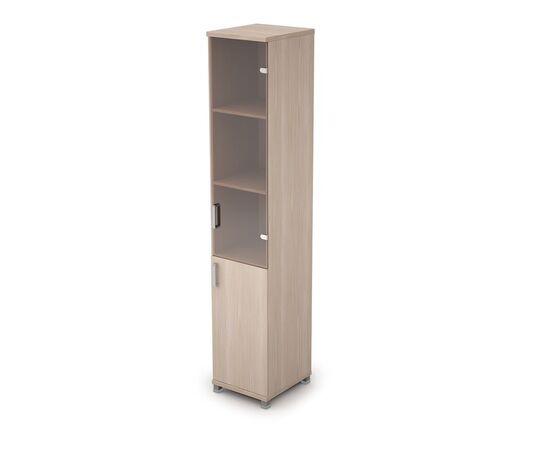 Шкаф для документов узкий ( 1 малая дверь ЛДСП, 1 средняя дверь стекло бронза) AVANCE ALSAV  6П.005.3 Шамони светлый 400х450х2116, Цвет товара: Шамони светлый