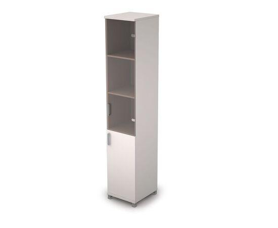 Шкаф для документов узкий ( 1 малая дверь ЛДСП, 1 средняя дверь стекло бронза) AVANCE ALSAV 6П.005.3 Белый 400х450х2116, Цвет товара: Белый
