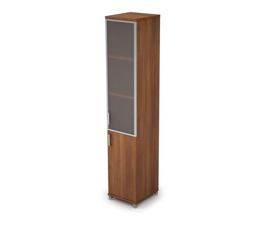 Шкаф для документов узкий правый ( 1 малая дверь ЛДСП, 1 средняя дверь стекло в ал.раме ) AVANCE ALSAV 6П.005.4 Шамони темный 400х450х2116, Цвет товара: Шамони темный