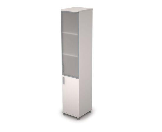 Шкаф для документов узкий правый ( 1 малая дверь ЛДСП, 1 средняя дверь стекло в ал.раме ) AVANCE ALSAV 6П.005.4 Белый 400х450х2116, Цвет товара: Белый
