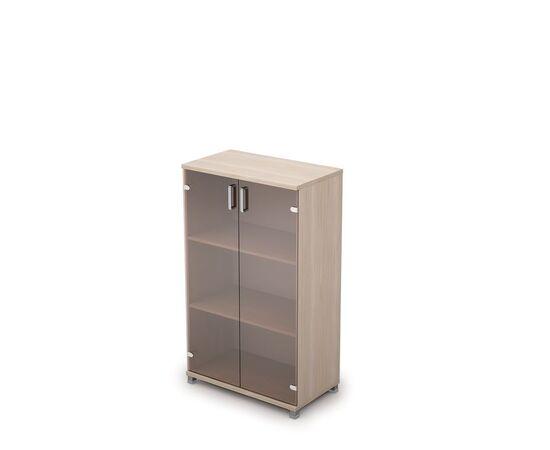 Шкаф для документов средний со стеклом AVANCE 6Ш.017.3 Шамони светлый 800х450х1348, Цвет товара: Шамони светлый