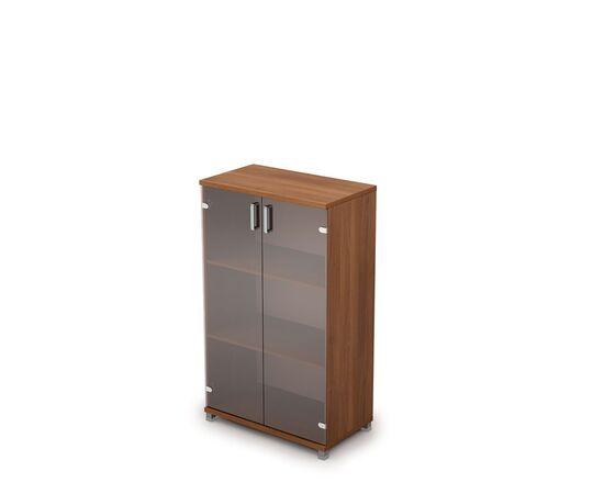 Шкаф для документов средний со стеклом AVANCE 6Ш.017.3 Шамони темный 800х450х1348, Цвет товара: Шамони темный