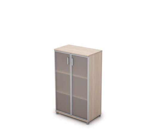 Шкаф для документов средний ( стеклянные двери в ал.раме ) AVANCE ALSAV  6Ш.017.4 Шамони светлый 800х450х1348, Цвет товара: Шамони светлый
