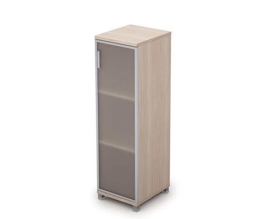 Шкаф для документов средний узкий со стеклом в алюминиевой раме Пр. AVANCE 6П.015.4 Шамони светлый 400х450х1348, Цвет товара: Шамони светлый