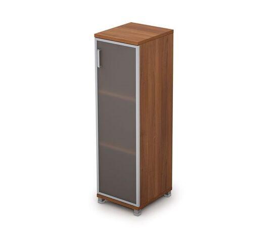 Шкаф для документов средний узкий со стеклом в алюминиевой раме Пр. AVANCE 6П.015.4 Шамони темный 400х450х1348, Цвет товара: Шамони темный
