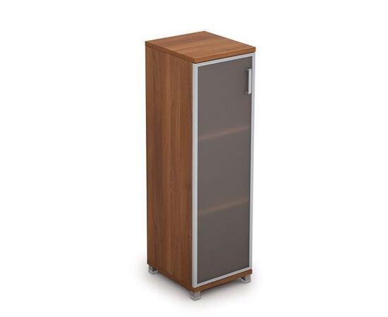 Шкаф для документов средний узкий со стеклом в алюминиевой раме Лев. AVANCE 6П.015.4 400х450х1348 Шамони темный, Цвет товара: Шамони темный