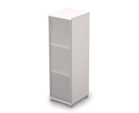 Шкаф для документов средний узкий со стеклом в алюминиевой раме Пр. AVANCE 6П.015.4 Белый 400х450х1348, Цвет товара: Белый