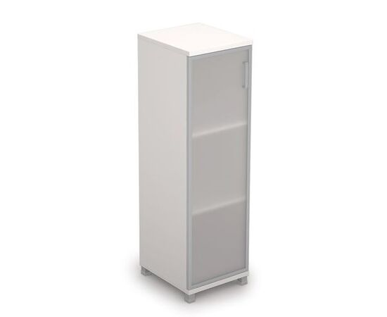 Шкаф для документов средний узкий со стеклом в алюминиевой раме Лев. AVANCE 6П.015.4 400х450х1348 Белый, Цвет товара: Белый