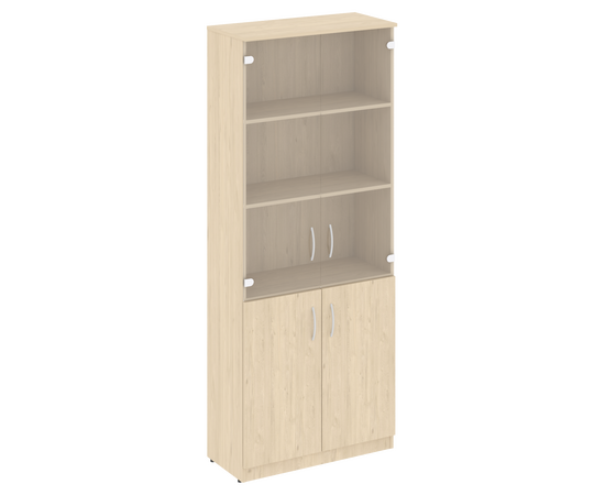 Шкаф высокий широкий для документов (2 низкие двери ЛДСП, 2 средние двери стекло) NOVA S В.СТ-1.2 Бук Артизан 770х360х1915, Цвет товара: бук