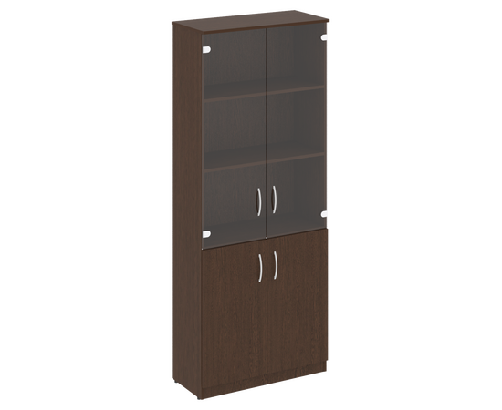 Шкаф высокий широкий для документов (2 низкие двери ЛДСП, 2 средние двери стекло)NOVA S В.СТ-1.2 Венге 770х360х1915, Цвет товара: Венге