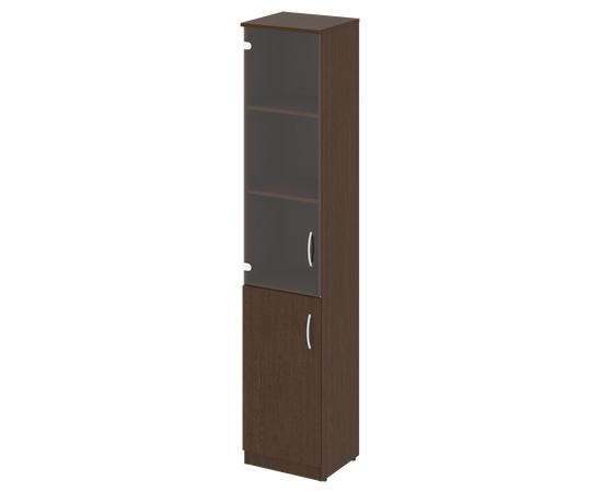 Шкаф для документов высокий узкий (1 низкая дверь ЛДСП, 1 средняя дверь стекло) NOVA S Riva В.СУ-1.2Л Венге 388х360х1915, Цвет товара: Венге