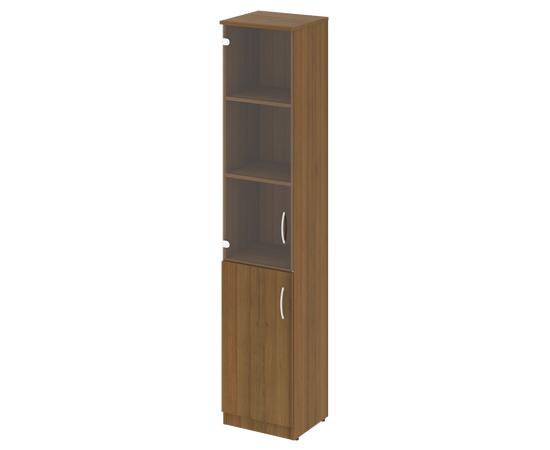 Шкаф высокий узкий для документов (1 низкая дверь ЛДСП, 1 средняя дверь стекло)NOVA S В.СУ-1.2Л Орех Гварнери 388х360х1915, Цвет товара: Орех