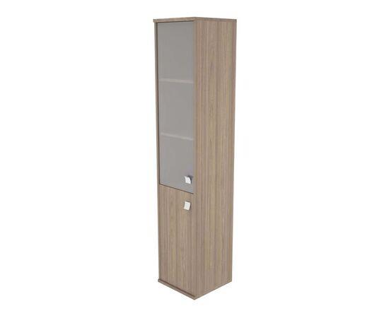 Шкаф для документов высокий узкий левый (1 низкая дверь ЛДСП, 1 средняя дверь стекло) STYLE Л.СУ-1.2Л Вяз Благородный темный 412х410х1980, Цвет товара: Вяз благородный темный