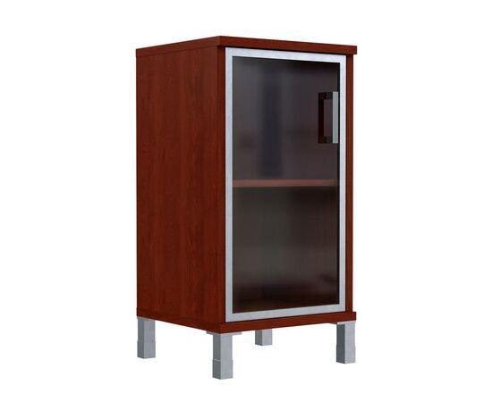 Шкаф для документов с левой стеклянной дверкой в алюминиевой раме низкий В-411.4L Венге магия Skyland Born 475х450х920, Цвет товара: Венге магия, изображение 3