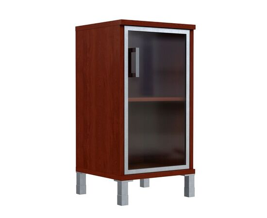 Шкаф для документов с правой стеклянной дверкой в алюминиевой раме низкий В-411.4R Венге магия Skyland Born 475х450х920, Цвет товара: Венге магия, изображение 2