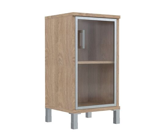 Шкаф для документов с правой стеклянной дверкой в алюминиевой раме низкий В-411.4R Венге магия Skyland Born 475х450х920, Цвет товара: Венге магия, изображение 3