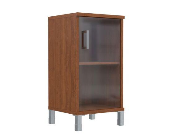 Шкаф для документов с правой стеклянной дверкой в алюминиевой раме низкий В-411.5R Венге магия Skyland Born 475х450х920, Цвет товара: Венге магия, изображение 3