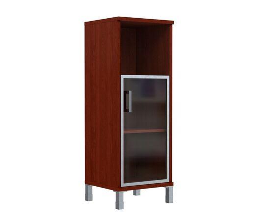 Шкаф-колонка для документов с правой дверкой стекло в алюминиевой раме средний В-421.4R Венге магия Skyland Born 475х450х1286, Цвет товара: Венге магия, изображение 2