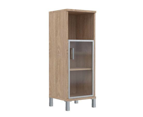 Шкаф-колонка для документов с правой дверкой стекло в алюминиевой раме средний В-421.4R Венге магия Skyland Born 475х450х1286, Цвет товара: Венге магия, изображение 3
