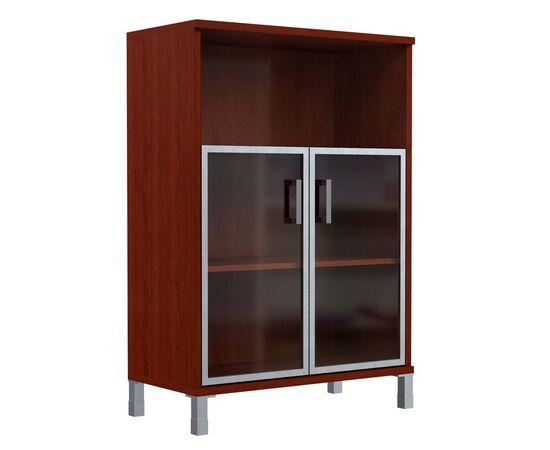 Шкаф для документов с дверьми стекло в алюминиевой раме широкий В-420.4 Венге магия Skyland Born 900х450х1286, Цвет товара: Венге магия, изображение 2