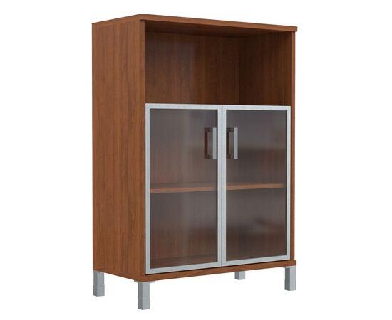 Шкаф для документов с дверьми стекло в алюминиевой раме широкий В-420.4 Венге магия Skyland Born 900х450х1286, Цвет товара: Венге магия, изображение 4
