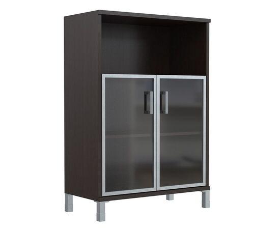 Шкаф для документов с дверьми стекло в алюминиевой раме широкий В-420.4 Венге магия Skyland Born 900х450х1286, Цвет товара: Венге магия, изображение 5
