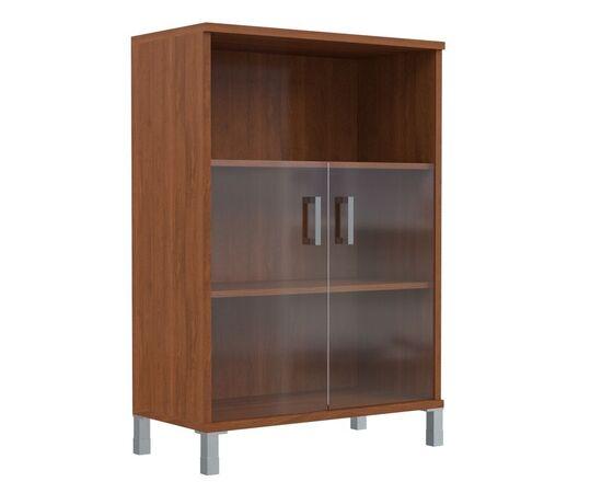 Шкаф для документов с дверьми стекло тонированное раме широкий В-420.5 Венге магия Skyland Born 900х450х1286, Цвет товара: Венге магия, изображение 4