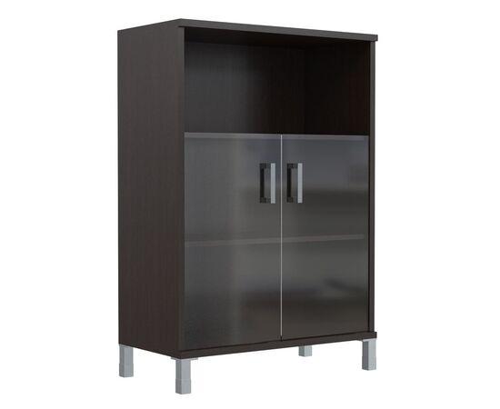 Шкаф для документов с дверьми стекло тонированное раме широкий В-420.5 Венге магия Skyland Born 900х450х1286, Цвет товара: Венге магия, изображение 5