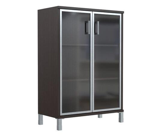 Шкаф для документов с дверьми стекло в алюминиевой раме широкий В-420.7 Венге магия Skyland Born 900х450х1286, Цвет товара: Венге магия, изображение 2