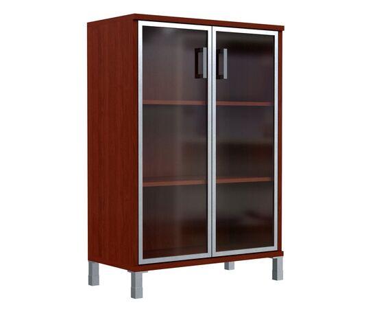 Шкаф для документов с дверьми стекло в алюминиевой раме широкий В-420.7 Венге магия Skyland Born 900х450х1286, Цвет товара: Венге магия, изображение 3