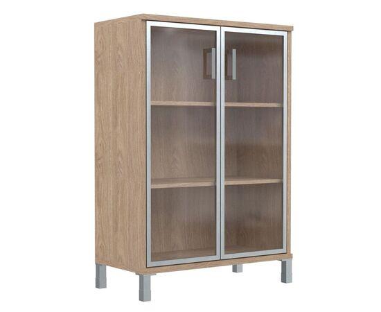 Шкаф для документов с дверьми стекло в алюминиевой раме широкий В-420.7 Венге магия Skyland Born 900х450х1286, Цвет товара: Венге магия, изображение 4