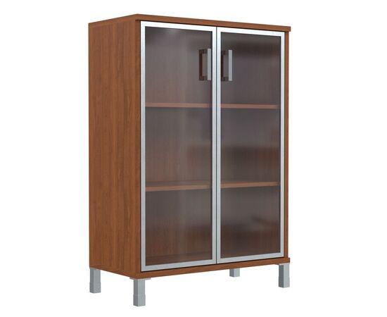Шкаф для документов с дверьми стекло в алюминиевой раме широкий В-420.7 Венге магия Skyland Born 900х450х1286, Цвет товара: Венге магия, изображение 5
