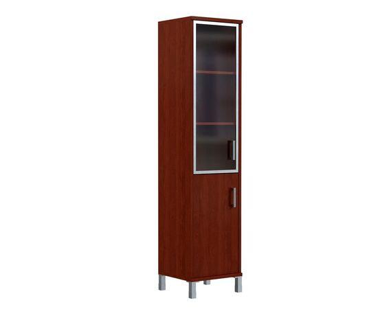 Шкаф-колонка с левой стеклянной дверкой в алюминиевой раме и низкой ЛДСП дверкой для документов В-431.4L Венге магия Skyland Born 475х450х2054, Цвет товара: Венге магия, изображение 4
