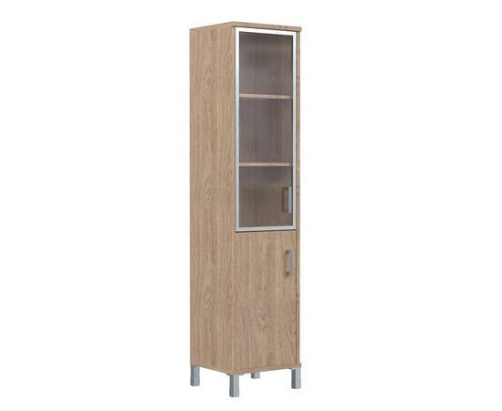 Шкаф-колонка с левой стеклянной дверкой в алюминиевой раме и низкой ЛДСП дверкой для документов В-431.4L Венге магия Skyland Born 475х450х2054, Цвет товара: Венге магия, изображение 5