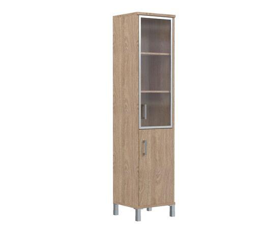 Шкаф-колонка с правой стеклянной дверкой в алюминиевой раме для документов В-431.4R Бургунди Skyland Born 475х450х2054, Цвет товара: бургунди, изображение 3