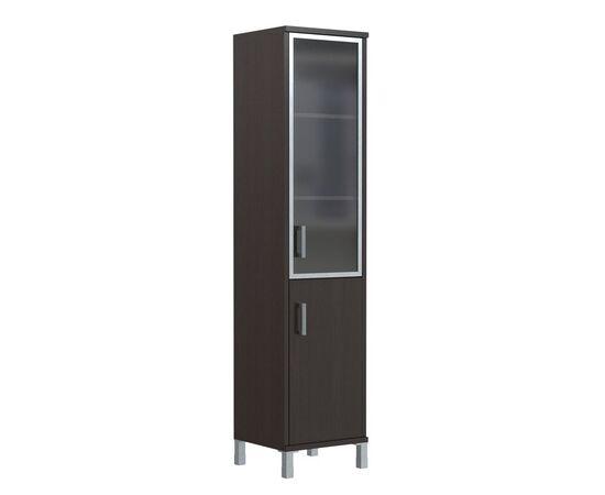 Шкаф-колонка с правой стеклянной дверкой в алюминиевой раме для документов В-431.4R Орех гарда Skyland Born 475х450х2054, Цвет товара: Орех гарда, изображение 2