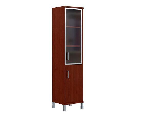 Шкаф-колонка с правой стеклянной дверкой в алюминиевой раме для документов В-431.4R Орех гарда Skyland Born 475х450х2054, Цвет товара: Орех гарда, изображение 3