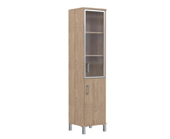Шкаф-колонка с правой стеклянной дверкой в алюминиевой раме для документов В-431.4R Орех гарда Skyland Born 475х450х2054, Цвет товара: Орех гарда, изображение 4