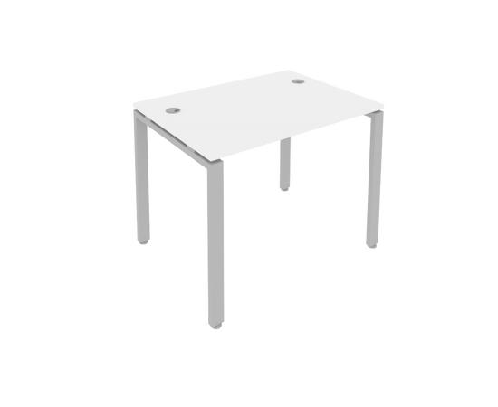 Стол прямой письменный на металлокаркасе Metal system Riva Б.СП-1 Белый /Серый мет.  1000*720*750, Цвет товара: Белый / Серый мет.