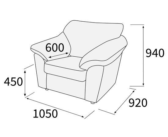 Кресло Афина Alfa 1050х920х940 (Рогожка), Цвет товара: Коричневый (6), изображение 2